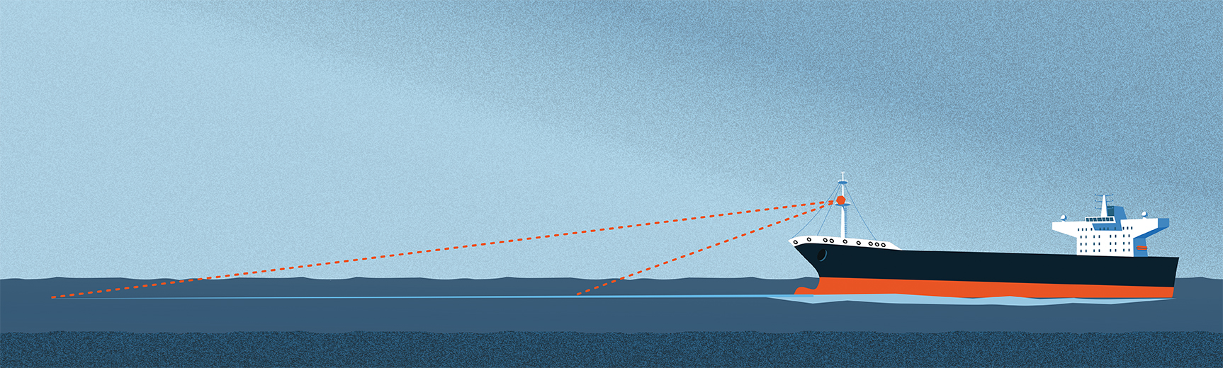 An illustration showing how Miros Wavex collects wave data to calculate a vessel's speed through water