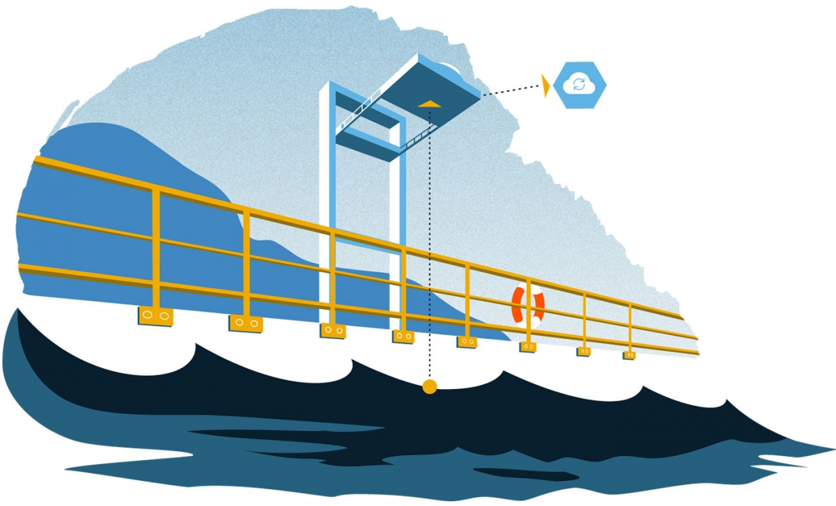 An illustration of the Miros RangeFinder showing how measurements of sea state are delivered to the Cloud.