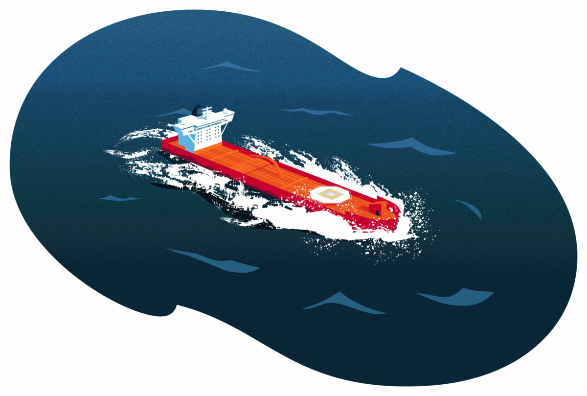 An illustration of a cargo ship travelling at speed in rough sea