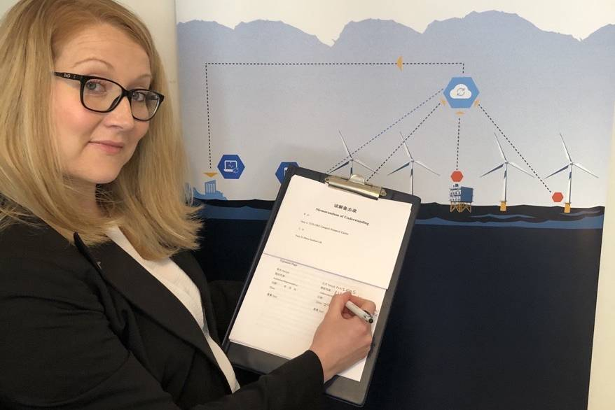 Maggie McMillan signing MoU to bring Miros sensors to the Chinese offshore wind market